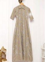 Beige Khadi silk Embroidered Designer Salwar Suit