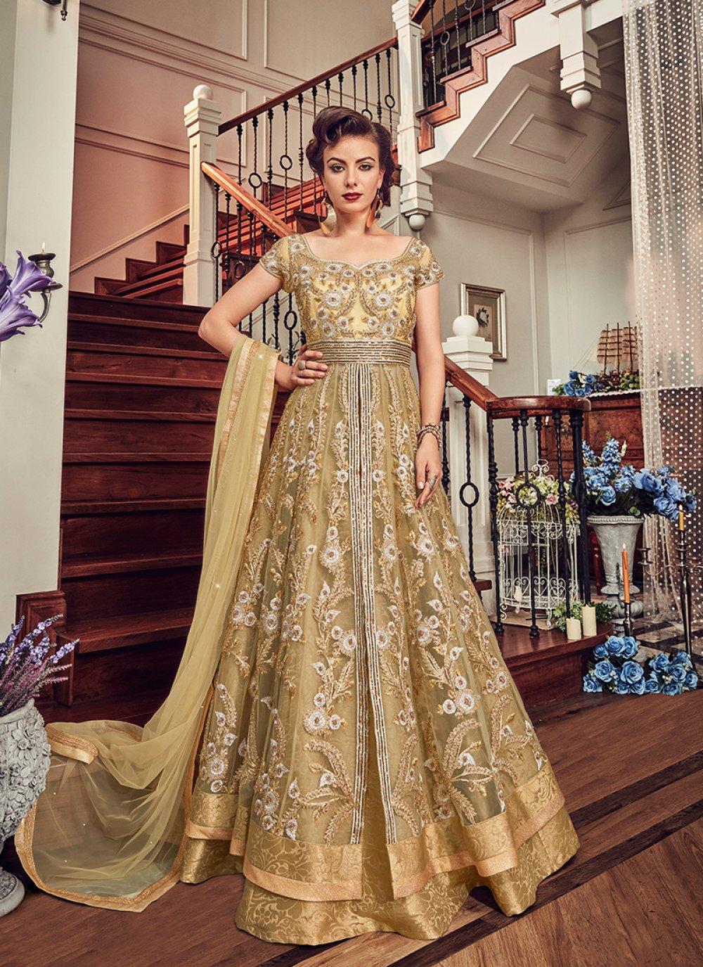 Beige Lace Floor Length Anarkali Suit
