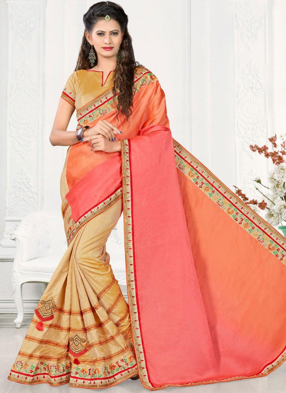 Beige, Orange and Pink Half N Half Designer Saree