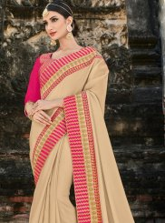 Beige Patch Border Bridal Designer Traditional Saree
