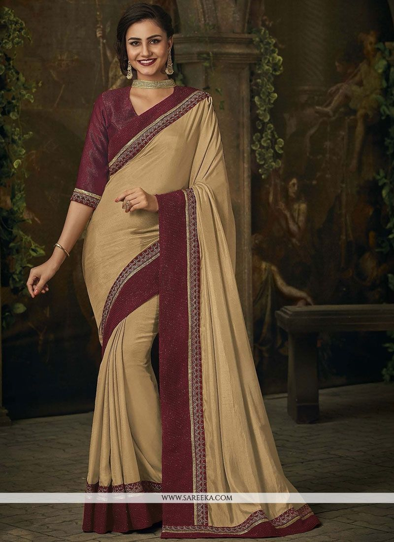Beige Patch Border Work Art Silk Designer Traditional Saree
