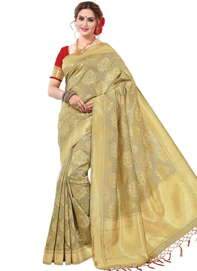 Beige Printed Ceremonial Trendy Saree