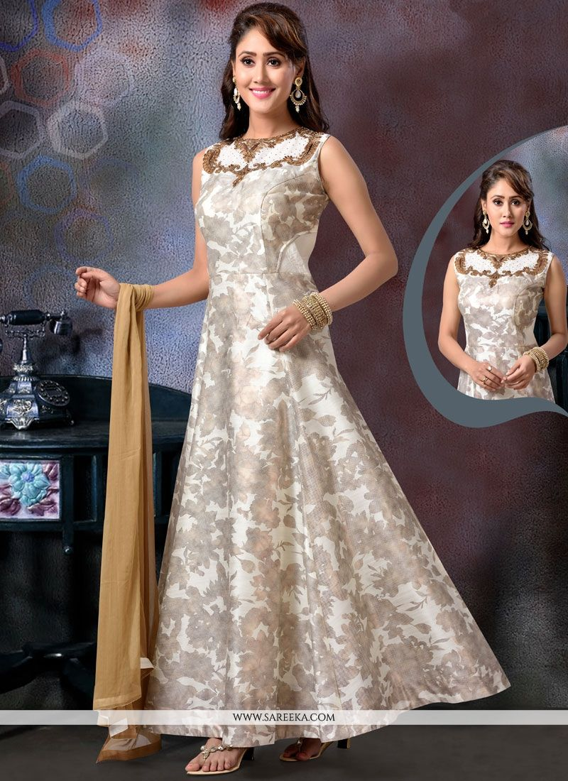 Beige Readymade Anarkali Suit