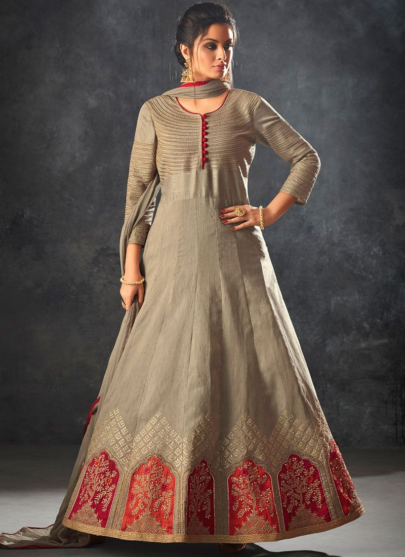 Beige Resham Art Silk Floor Length Anarkali Suit