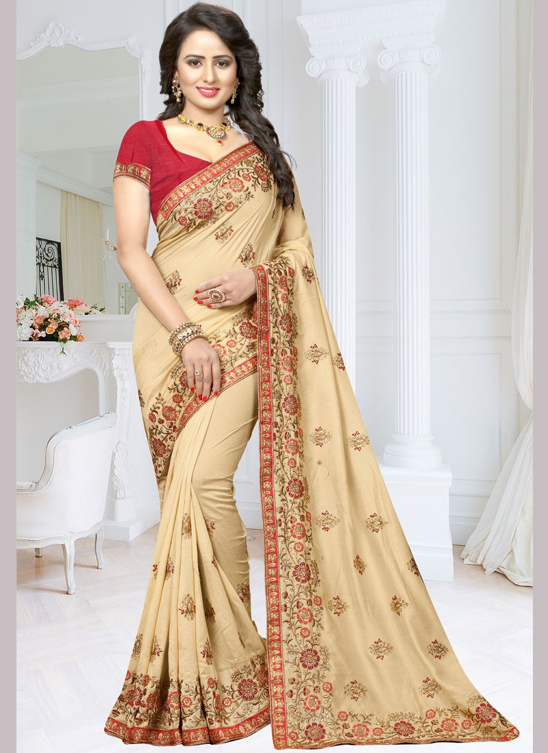 Beige Resham Work Traditional Designer Saree