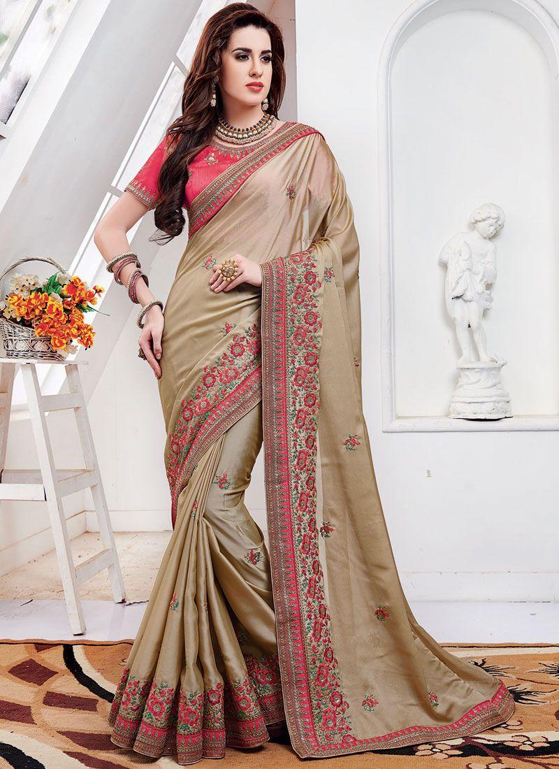 Beige Silk Mehndi Classic Saree