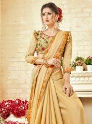 Beige Thread Work Classic Saree