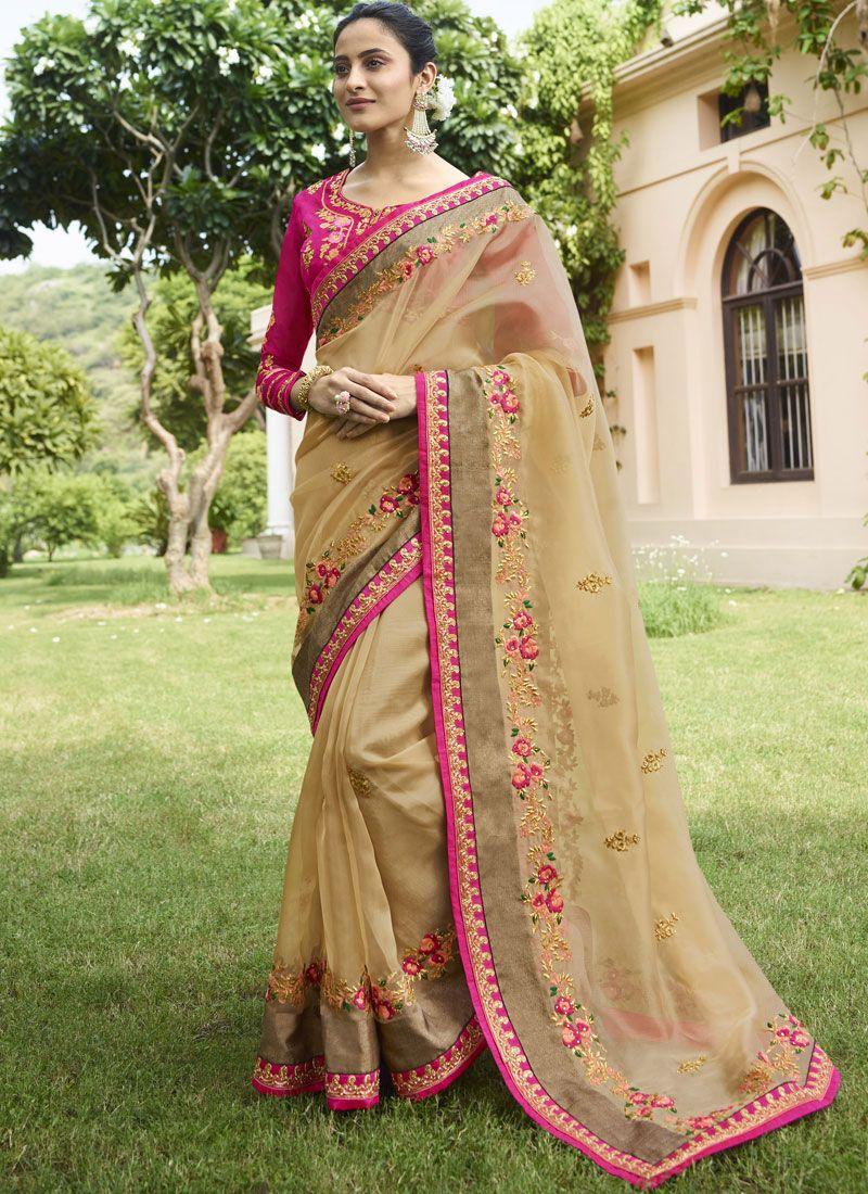 Beige Tissue Border Trendy Saree
