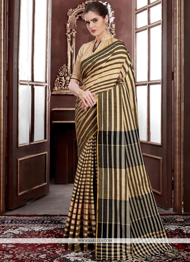 Beige Weaving Work Handloom silk Traditional Designer Saree