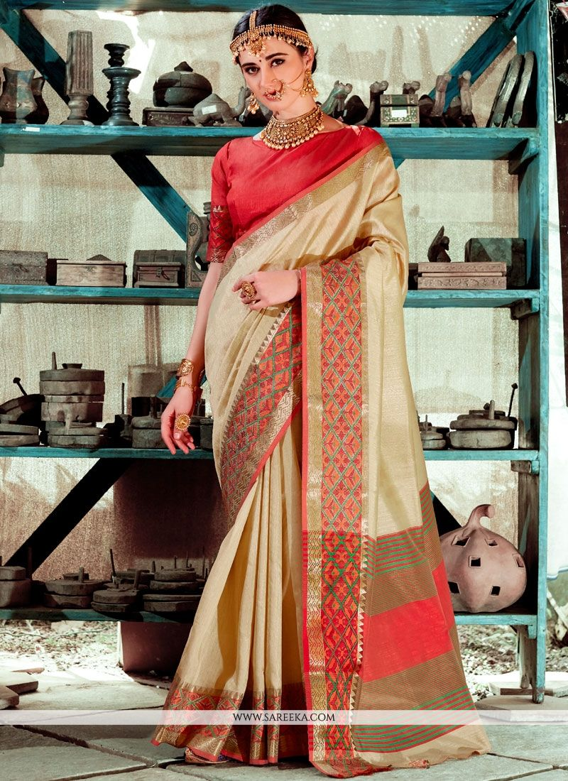 Beige Weaving Work Traditional  Saree