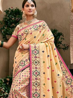 Beige Wedding Banarasi Silk Trendy Saree