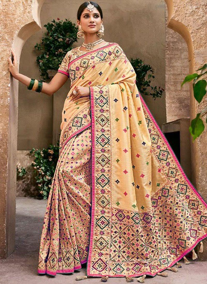 Beige Wedding Banarasi Silk Trendy Saree
