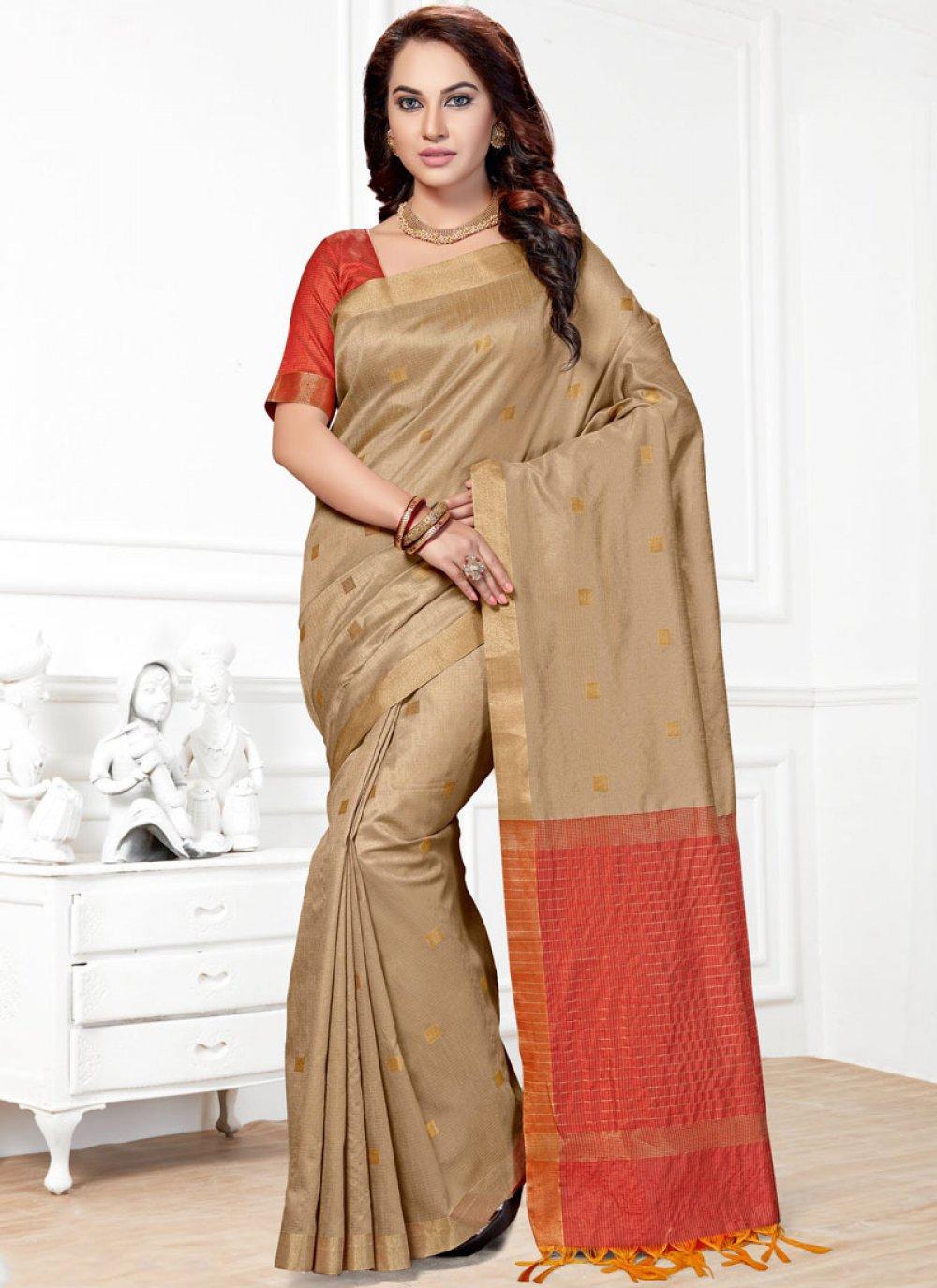 Beige Woven Chanderi Traditional  Saree