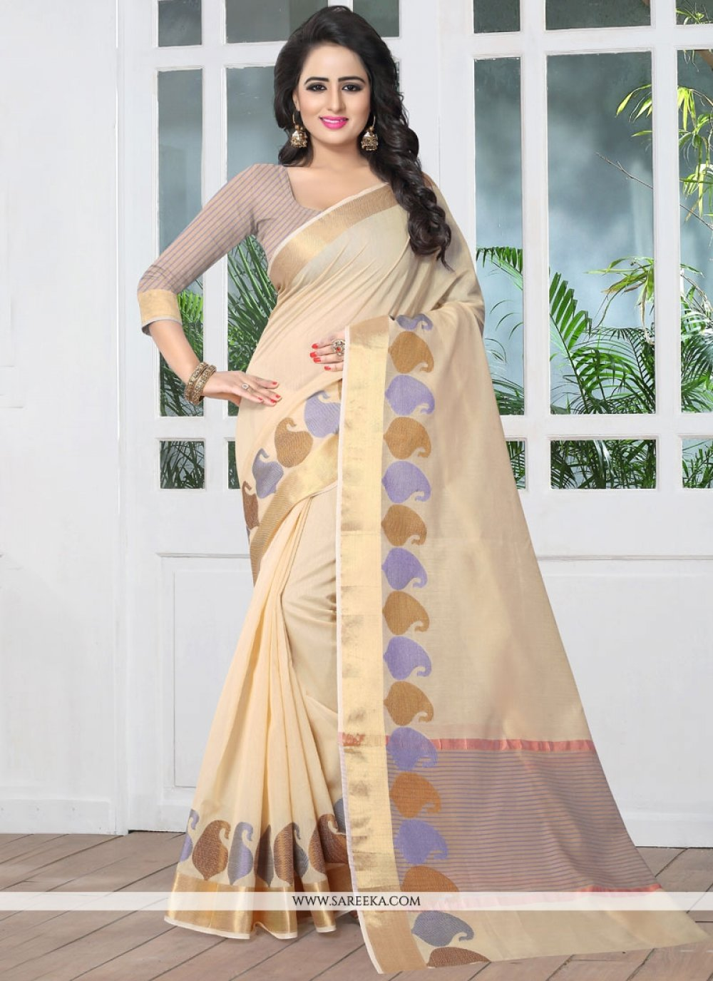 Beige woven Work Banarasi Silk Traditional Designer Saree