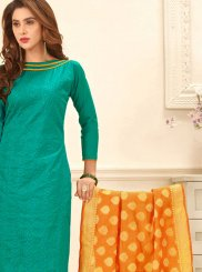 Bengal Cotton Embroidered Work Churidar Suit