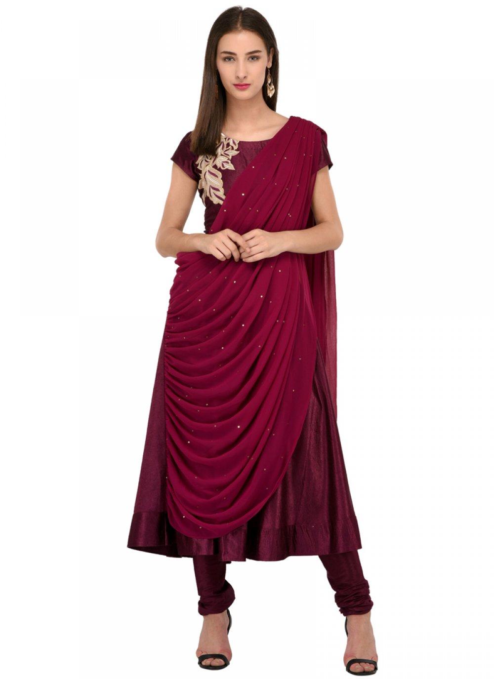 Bhagalpuri Silk Anarkali Salwar Suit in Wine