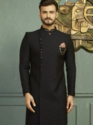 Black and Blue Jacquard Party Indo Western