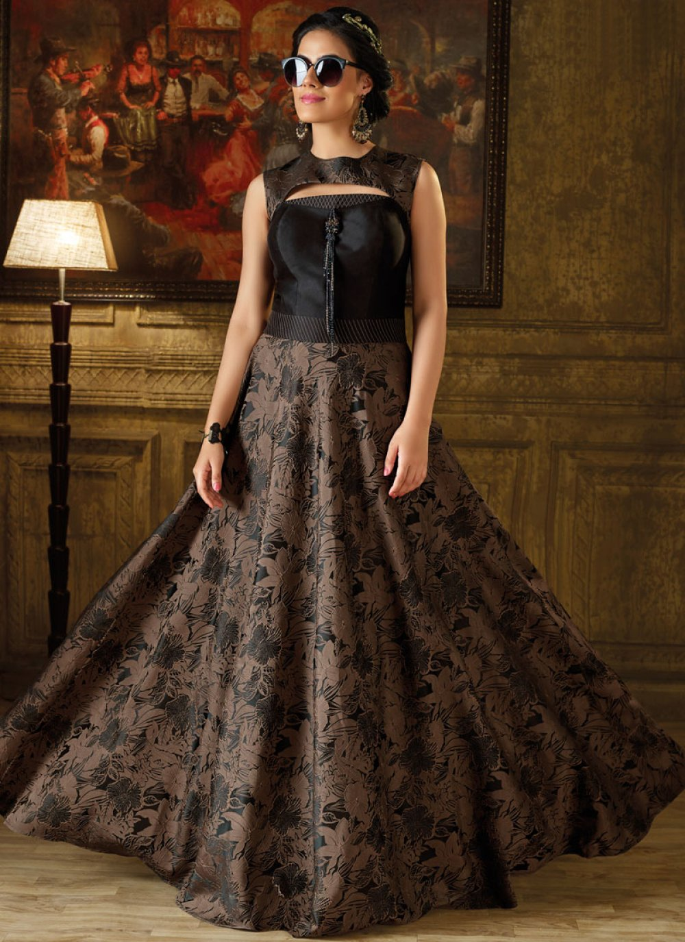 Black and Brown Art Silk Fancy Work Readymade Gown