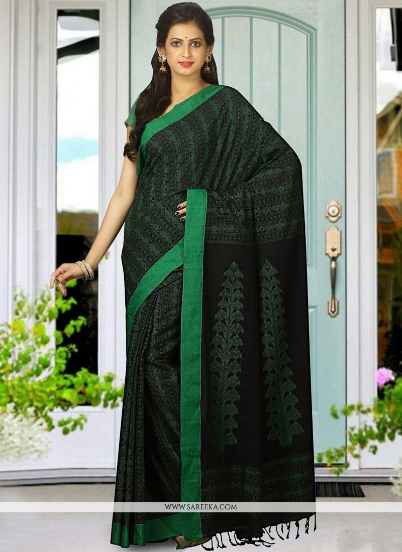 Black and Green woven Work Cotton   Traditional Designer Saree