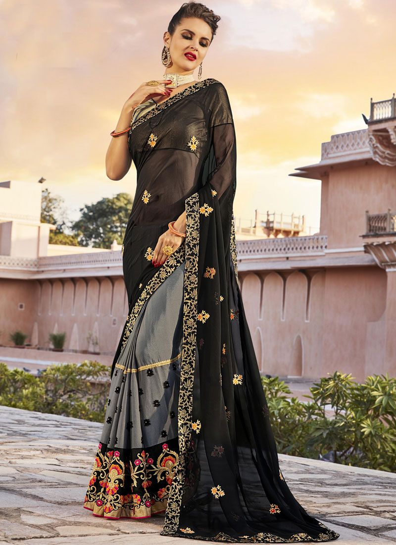 Black and Grey Embroidered Work Bollywood Saree