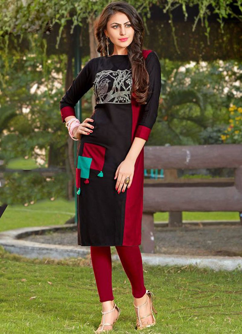 Black and Maroon Casual Rayon Party Wear Kurti