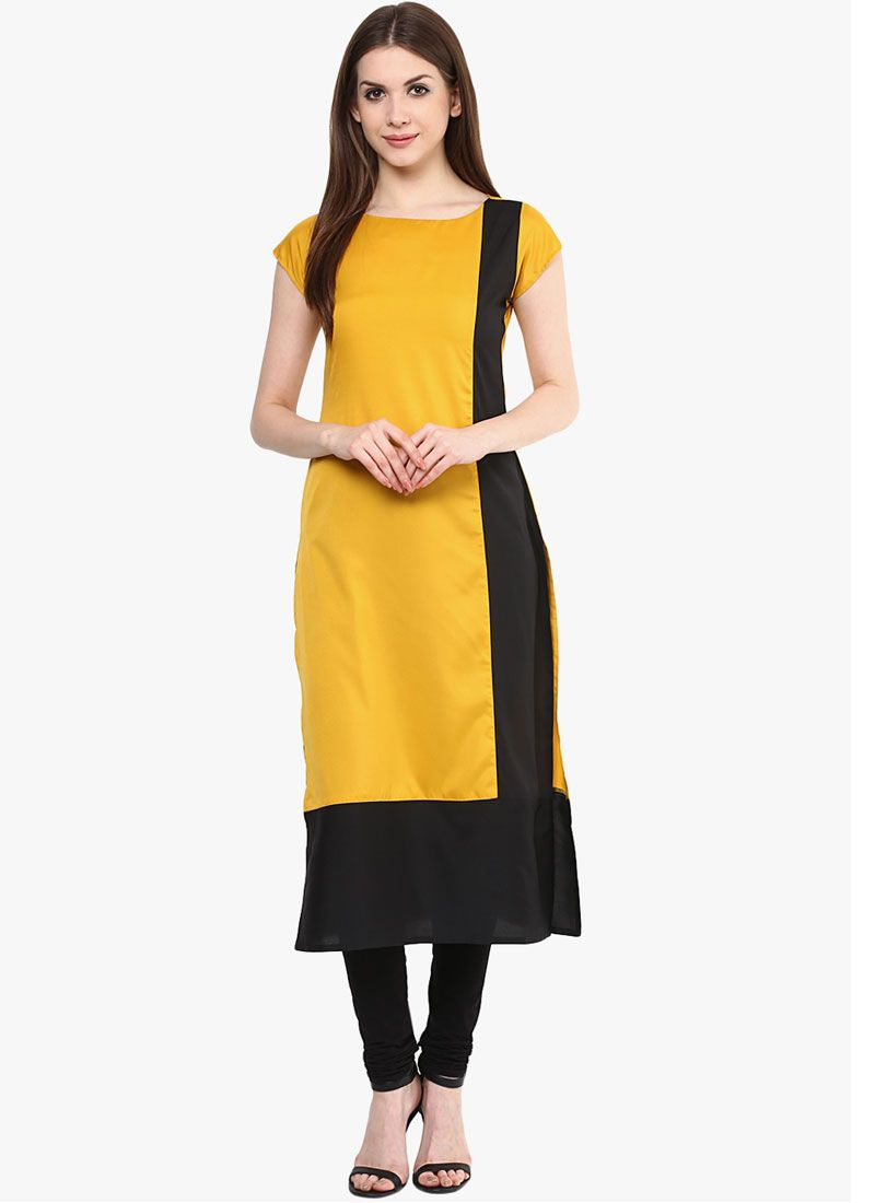 Black and Mustard Rayon Casual Kurti