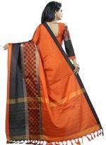 Black and Orange Cotton Silk Woven Casual Saree