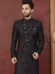 Black and Red Party Jacquard Indo Western