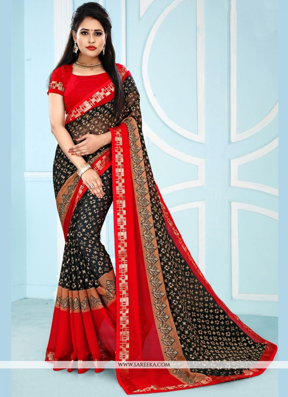 Black and Red Printed Work Work Pure Chiffon Casual Saree