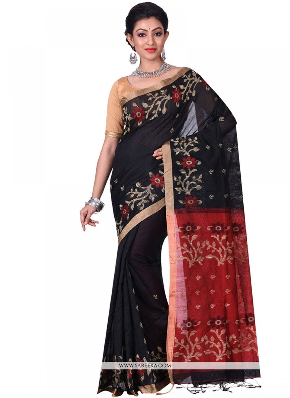 Black and Red Resham Work Traditional  Saree