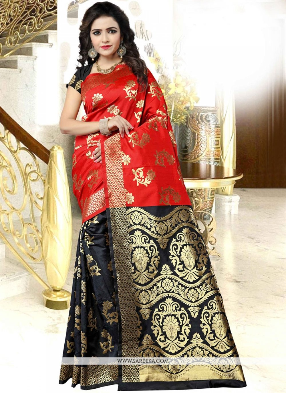 Black and Red woven Work Designer Traditional Saree