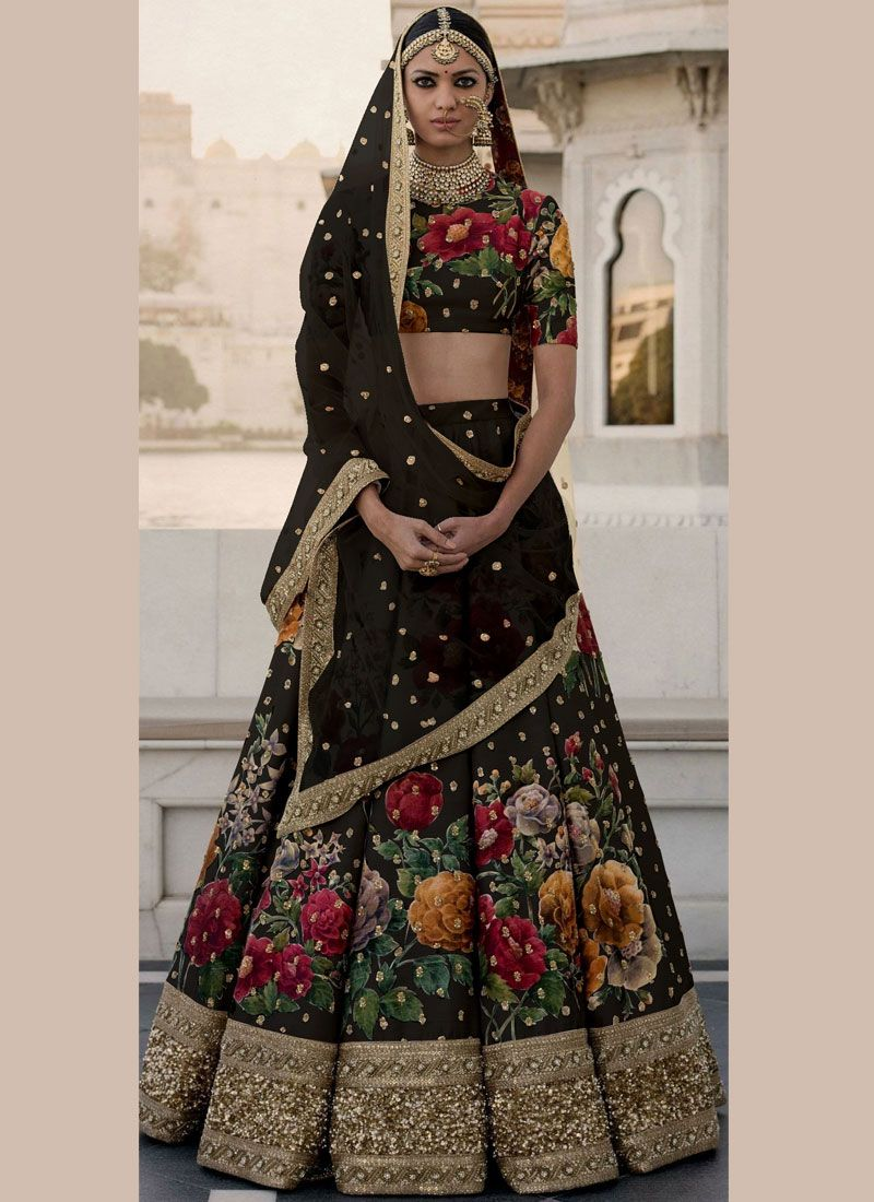 Black Art Silk Designer Lehenga Choli