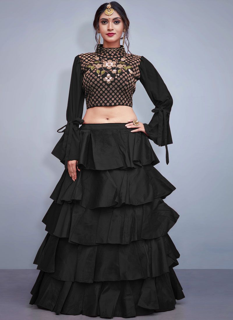 Black Art Silk Sangeet Readymade Lehenga Choli
