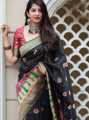 Black Art Silk Weaving Traditional Saree