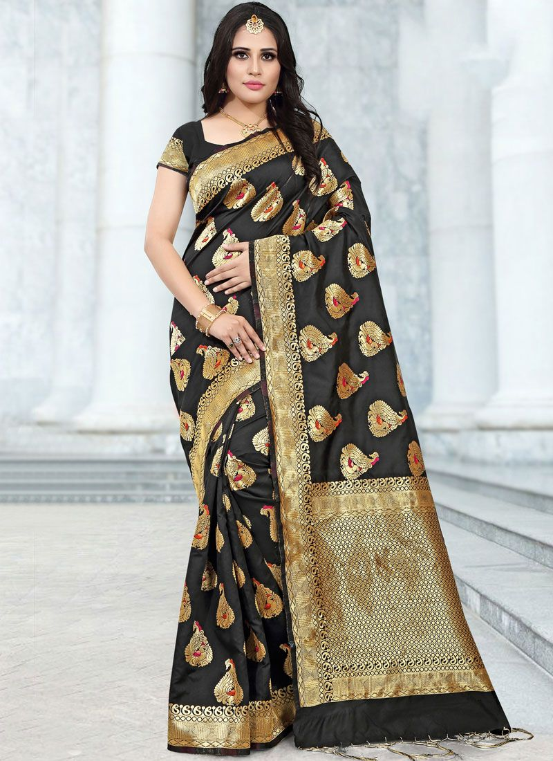 Black Banarasi Silk Classic Saree