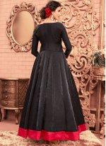 Black Banglori Silk Floor Length Anarkali Suit