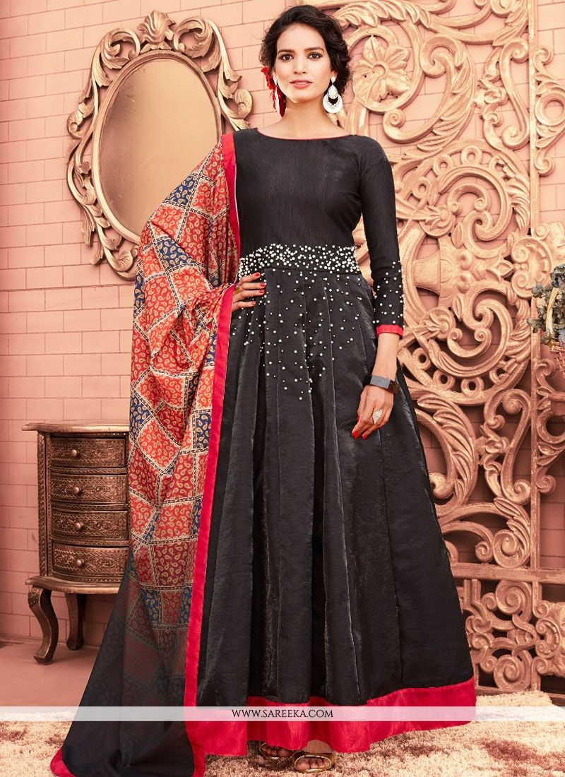 Black Banglori Silk Floor Length Anarkali Suit