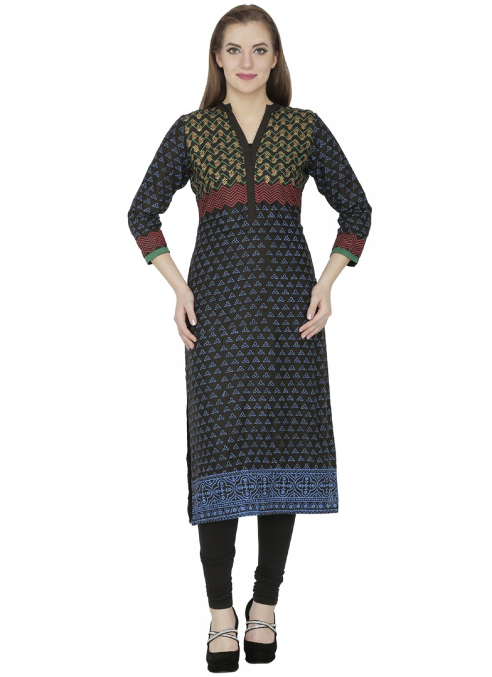 Black Casual Cotton   Casual Kurti