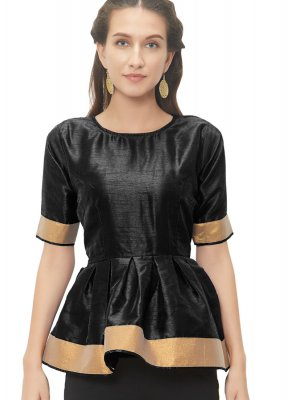Black Color Readymade Blouse With Lace Work