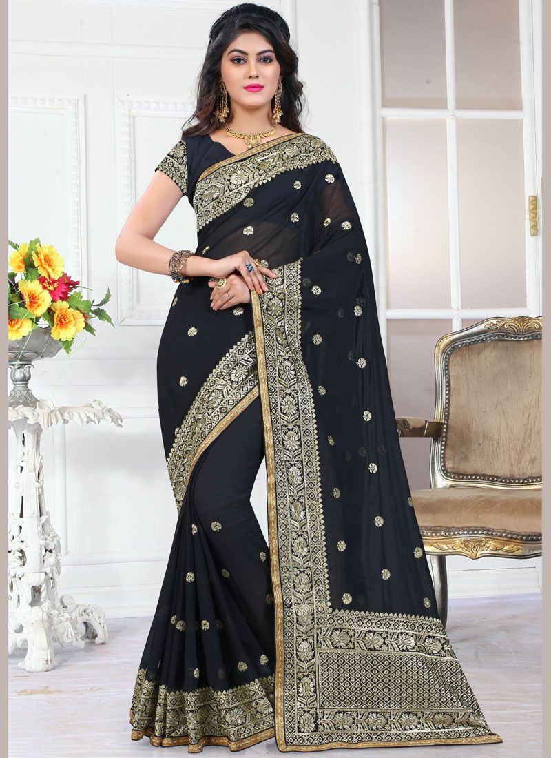 Black Contemporary Saree