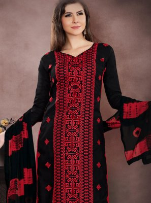 Black Cotton   Churidar Designer Suit
