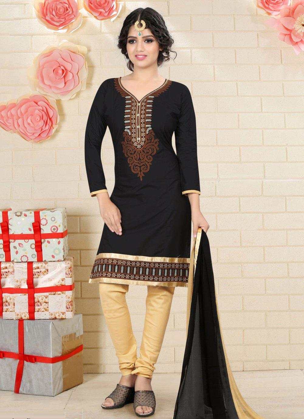 Black Cotton   Churidar Suit