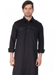 Black Cotton   Festival Kurta Pyjama