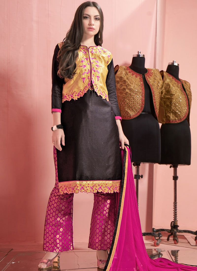 ea9d15e3ec Buy Online Black Cotton Palazzo Salwar Kameez : 79010 -