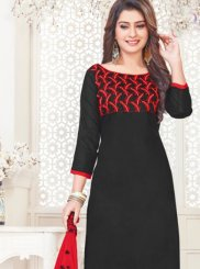 Black Cotton Satin Churidar Suit