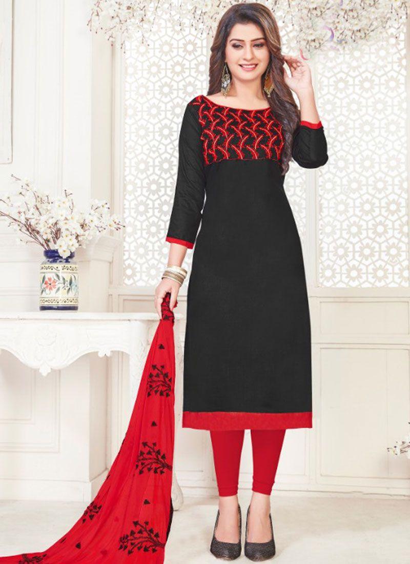 Black Cotton Satin Churidar Suit