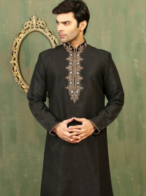 Black Dupion Silk Kurta Pyjama with Embroidered