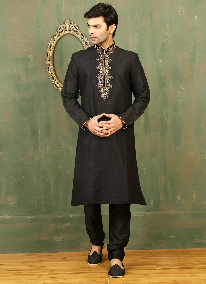 Black Dupion Silk Kurta Pyjama with Embroidered