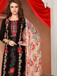 Black Embroidered Cotton   Churidar Salwar Suit