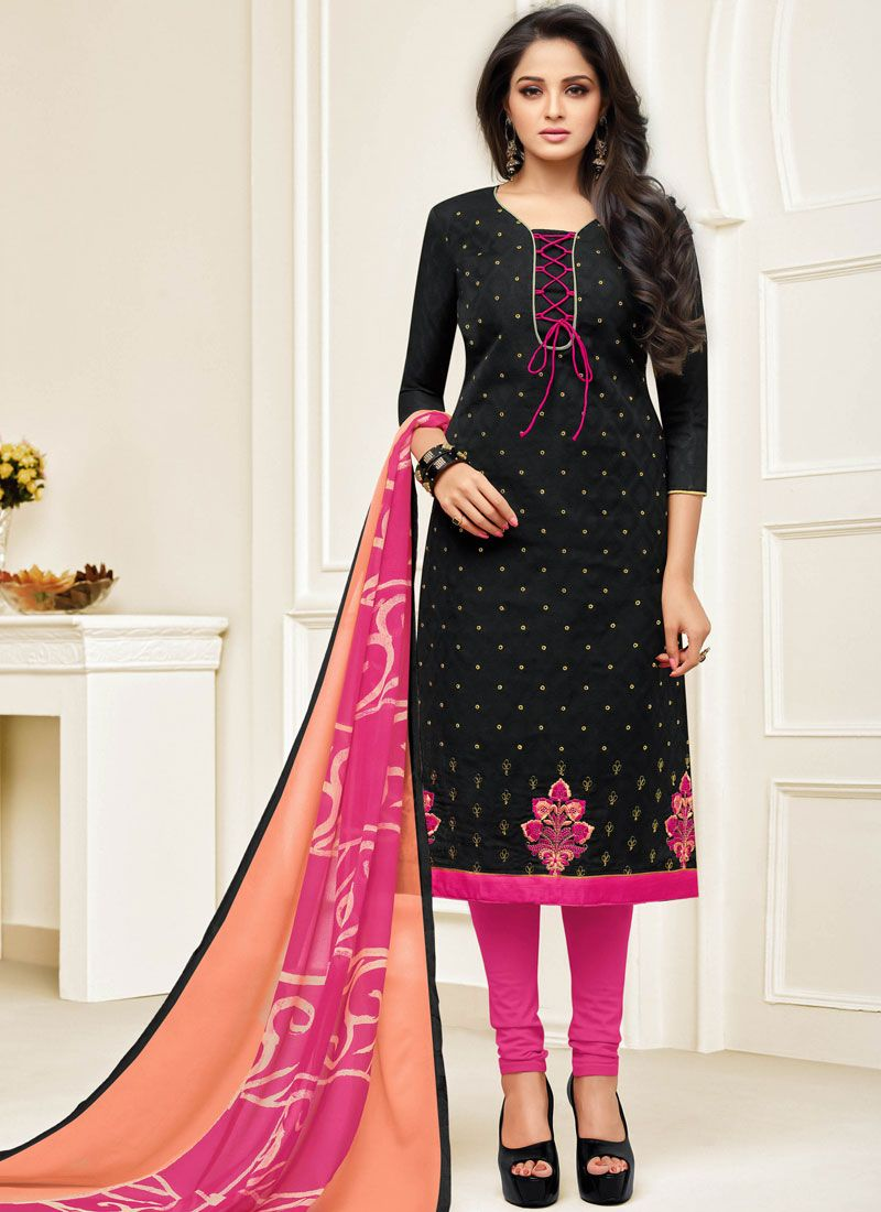 Black Embroidered Festival Churidar Designer Suit